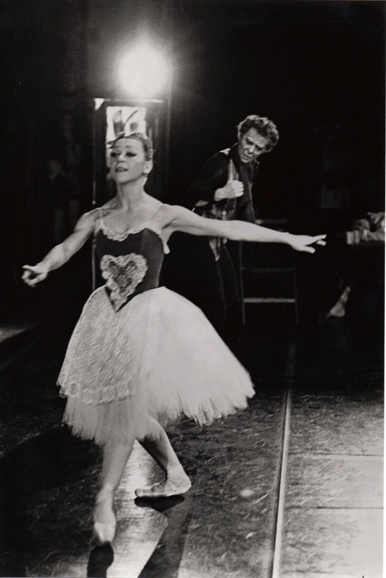 1977- Christine Lassauvageux as Swanilda, Alexander Roy as Dr Coppelius in COPPELIA – photo: Geoff Howard