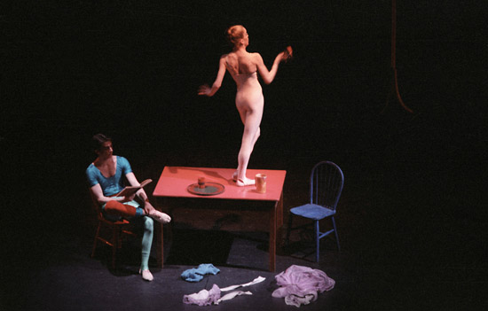 1984-LA RONDE-Paul Payne as the Young Gentleman and Antoinette Goodfellow as the Chambermaid photo: Linda Rich