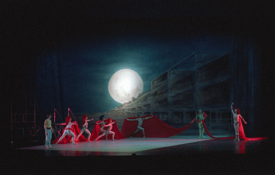 1988-THE MAGIC FLUTE- photo: Dabney Forest – Caroline Heming as The Queen of the Night (R), Mark Longthorn (L) as Tamino