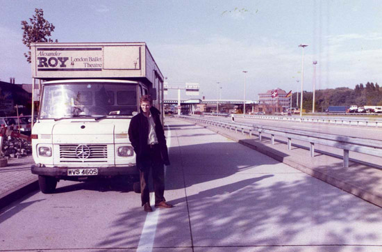 ON TOUR – 1984 Stage Manager Mark Preston at the  East German border